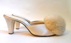 1950s soft white satin Daniel Green boudoir slippers with rabbit fur poufs, personal collection