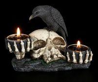 Zweifach Teelichthalter - Rabe auf Totenkopf