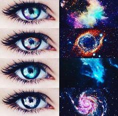 123 or Galaxy Eyes✨ by Unknown Beautiful Eyes Color, Pretty Eyes, Cool Eyes, Rare Eye Colors, Regard Animal, Eye Color Chart, Rare Eyes, Colored Eye Contacts, Galaxy Eyes