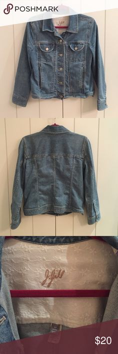 J-Jill Jean Jacket. Classic styled denim jacket. Has adorable white cotton trim with flowers inside the collar and end of sleeves. Great condition. Women's size small/petite. J. Jill Jackets & Coats Jean Jackets