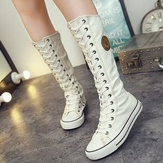 New Women Boots Canvas Lace Up Knee High Boots Women Motorcycle Flat Casual Tall Punk Shoes Woman Antiskid Side Zipper Shoe