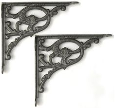 "Pair of Large Cast Iron Jumping Fish Shelf Brackets (10"" / 26cm): Amazon.co.uk: DIY & Tools £25.95"