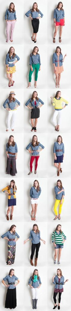 21 Ways to Wear Chambray. Love the middle, long skirt one