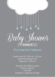 Baby Shower Invitations | Baby Shower Invites | Baby Shower | Snapfish (Imagining the white clouds made out of tissue paper, with some hanging circles, drops & hearts made out of card stock. -Jenn's shower)