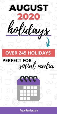 Looking for weird, fun, or special holidays to celebrate on social media? Check out this massive list of over 245 holidays for August 2020. #Holidays #SocialMedia #AngieGensler Holidays In May, November Holidays, Weird Holidays, Special Holidays, Social Media Content, Social Media Tips, Social Media Marketing, Digital Marketing, Marketing Strategies