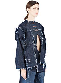 Hannah Jinkins Cut-Out Frayed Denim Shirt   LN-CC