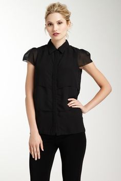Cap Sleeve Collared Blouse