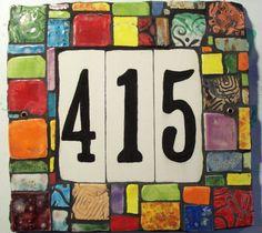 Handmade Ceramic Custom Tile House Number Plaque by JandRDesigns Tile House Numbers, Ceramic House Numbers, House Number Plaque, Door Numbers, Address Numbers, Address Plaque, Mosaic Crafts, Mosaic Projects, Mosaic Art