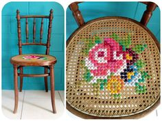 Cute cross stitch idea now Must hunt for a wicker chair Cross Stitching, Cross Stitch Embroidery, Cross Stitch Patterns, Flower Embroidery, Sewing Projects, Diy Projects, Le Point, Crafty Craft, Needlepoint