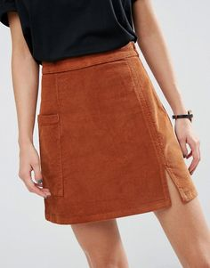 ASOS | ASOS Cord Pelmet Skirt with Patch Pocket and Thigh Split in Ginger