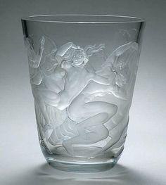 Orrefors 9.5 Crystal Vase | ... Gate (Swedish, 1883-1945), Orrefors, Engraved Glass Vase. (Enlarge