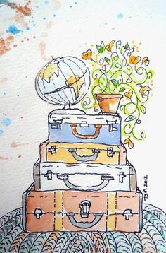 Teresa Madore Vintage Suitcases Original watercolor painting globe, flowers