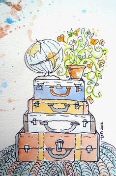 Teresa Madore Vintage Suitcases Original watercolor painting globe, flowers