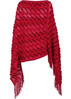 Capa punto rayas flecos-Rojo EUR€16.36