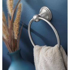 DN8486CH,BN Moen Preston Wall Mounted Towel Ring & Reviews | Wayfair Hand Towels Bathroom, Towel Rings, Ring Shapes, Types Of Rings, Polished Brass, Preston, Innovation Design, Brushed Nickel, Wall Mount