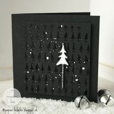 Weihnachten I have to admit, I never thought that I would ever make a black Christmas card, but then Chrismas Cards, Christmas Card Images, Christmas Card Crafts, Christmas Cards To Make, Xmas Cards, Diy Cards, Christmas Time, Dyi Decorations, Black Christmas