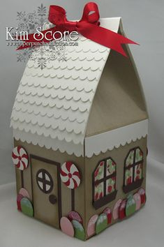 Paper Punch Addiction: Gingerbread House Treat Box-I think I can do this.