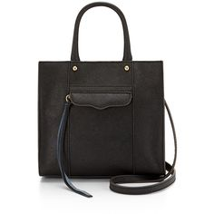 Rebecca Minkoff M.A.B. Tote Mini (840 RON) ❤ liked on Polyvore featuring bags, handbags, tote bags, tote purses, mini tote handbag, rebecca minkoff, saffiano leather tote and tote bag purse