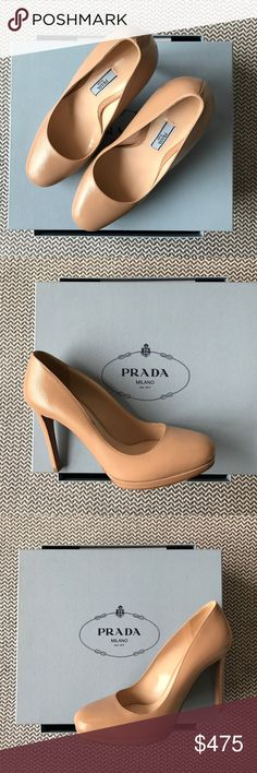 Prada Nude 100MM Round Heels - Never Worn! Prada nude leather 100MM (4 inch) heels. In pristine condition as they have never been worn. I am a true 7.5 and these are a little big on me. Size 38. Reach out for additional photos, or information. Cannot bundle. Prada Shoes Heels