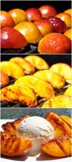 Grilled Georgia Peaches + Ice Cream - A favourite dessert is grilled peaches with mascarpone and honey. This'll do just fine though. Grilled Fruit, Grilled Peaches, Grilled Desserts, Grilled Food, Köstliche Desserts, Delicious Desserts, Yummy Food, Fruit Recipes, Dessert Recipes