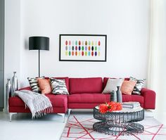 Quelle peinture quelle couleur autour d\'un canapé rouge | Salons ...