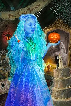 This week our Happy Haunts series is taking a look at the true lady of the house - The Bride. (This character's storyline varies a bit at Haunted Mansion attractions around the world, so we'll focus mainly on her appearance at Magic Kingdom Park).