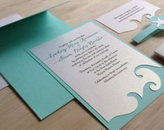 Beach Wedding Invitation Destination Wedding by TheFindSac