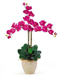 Nearly Natural 1017-BU Triple Phalaenopsis Silk Orchid Flower Arrangement, Beauty