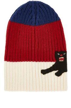 7410eb7dced GUCCI Panther-Appliquéd Striped Wool Beanie.  gucci  beanie. Gucci  BeanieGucci MenKnitted PonchoRib KnitPantherWinter HatsKnit Poncho
