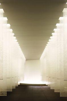 kanebo sensai select spa by curiosity Spa Design, Roof Design, Ceiling Design, Lobby Interior, Interior Design, Column Lights, Spa Lighting, Kanebo, Function Room