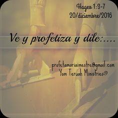"""Pan Sin Levadura y Vino Nuevo 2: 83.  """"VE Y PROFETIZA...""""  Hageo 1:3-7    20/diciem..."""