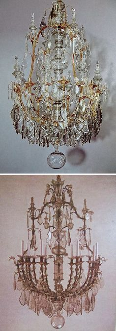 Top: A not-very-good photo of an exceptional piece: A FINE, RARE, ITALIAN, EIGHT-LIGHT, ROCOCO, ORMOLU AND CUT-GLASS CHANDELIER, ca.1750, SOLD RECENTLY. Approx. present value: ready?... $550,000.----------------Below: A DUPLICATE MID-18TH CENTURY CHANDELIER (huge differently) IN THE DUKE OF SAVOY'S PALAZZO IN TURIN, ITALY.