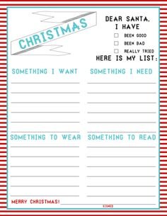 Printable Christmas Wish Lists | Are We There Yet?