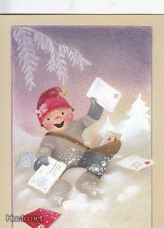 Postcard travelled km miles) in 13 days (from Finland to U.): A mailman postcard to mailman, from a family of mailmen! Christmas Clipart, Vintage Christmas Cards, Vintage Cards, Christmas Crafts, Illustration Noel, Christmas Illustration, Illustrations, Funny Drawings, Winter Cards