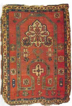 'Bellini' re-entrant prayer rug, Anatolia or Caucasus, late century, Victoria & Albert Museum Persian Carpet, Persian Rug, Dark Carpet, Textiles, Prayer Rug, Turkish Kilim Rugs, Turkish Carpets, Woven Rug, Rugs On Carpet