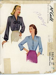 1940s Blouse Pattern McCall 5904 Bust 32 Womens by CynicalGirl, $16.00