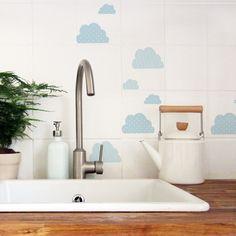 Dekorative Fliesensticker als Wolken / decorative tile stickers as clouds made by nuukk via DaWanda.com