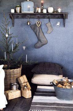 Rustic christmas-Shelf & Stocking Idea!