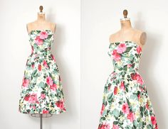 vintage 1950s dress / rose print floral 50s party dress / Will Steinman / small s by SwaneeGRACE on Etsy https://www.etsy.com/listing/497758800/vintage-1950s-dress-rose-print-floral