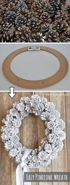 Easy DIY Pinecone Wreath Craft Tutorial -- such an easy DIY Fall or Christmas decor idea! This easy project is super cheap and easy to make.