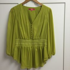 Catherine Malandrino Blouse V-neck, fabric covered buttons. Smocked waist. Sheer sleeves, lined body. Beautiful top! Never worn. Shell: 100% polyester. Lining: 95% polyester, 5% spandex. Catherine Malandrino Tops Blouses