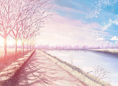 Find images and videos about pink, anime and nature on We Heart It - the app to get lost in what you love. Anime Scenery Wallpaper, Anime Artwork, Sakura Anime, Anime Places, Anime City, Episode Backgrounds, Scenery Background, Chroma Key, Estilo Anime