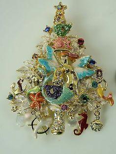 Kirks Folly Mermaid's Magic Christmas Tree Pin/Enhancer (Antique Goldtone)