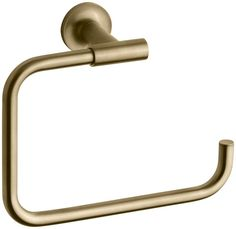 Kohler Purist Towel Ring, Vibrant Moderne Brushed Gold x x Completes Purist design solution with KOHLER(R) faucets and fixtures Solid brass construction for durability and reliability Tools included for installation Kohler Purist, Kohler Faucet, Bathroom Faucets, Bathrooms, Master Bathroom, Bathroom Stuff, Attic Bathroom, Basement Bathroom, Bathroom Colors