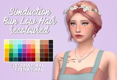 "pixielated: "" "" - 55 recolours of @simduction's Bun Low hair - adds swatches to the original - female, teen to elder - feel free to tag me using #pixielated - you can request things for me to recolour next - credit to @wildlyminiaturesandwich for the..."