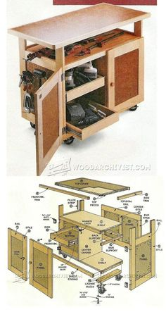 Tool Cart - Homemade tool cart constructed from plywood. Caster ...