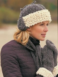 Sheepskin Hat, Scarf & Mittens | Yarn | Knitting Patterns | Crochet Patterns | Yarnspirations