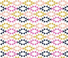 golden yellow magenta navy aztec triangles fabric by charlottewinter on Spoonflower - custom fabric