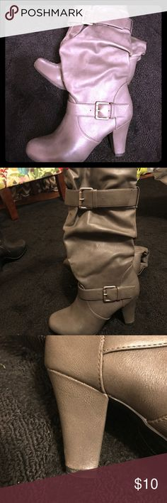 """Women's slip on heeled boots Size 7.5, gray with buckled accents. 3"""" heel. Have been worn a few times, they do have a few scratches on the toe part, might be able to repaired but I don't know how to do it. Shoes Heeled Boots"""