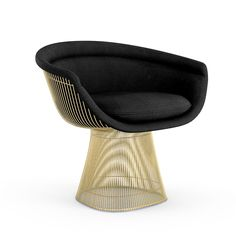 """Chair - Gold Warren Platner 1966 In 1966 the Platner Collection captured the """"decorative, gentle and graceful"""" shapes that were beginning to infiltrate the modern vocabulary. 50 years later we are celebrating by offering the collection in 18 karat gold. The iconic lounge chair lends mid-century modern elegance to any living room. Retail price of current configuration: $7406"""